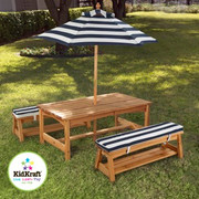 KidKraft Outdoor Table and Bench Set with Navy Stripes Cushion and Umbrella