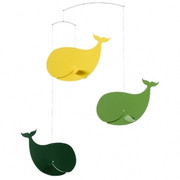 Flensted Mobiles Happy Whales  Mobile - Green/Yellow