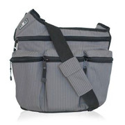 Diaper Dude Messenger I Bag Grey Pinstripe