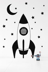 Ferm Living Rocket Wall Sticker - Black