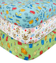 Trend Lab Animals 3 Pack Flannel Crib Sheet Set