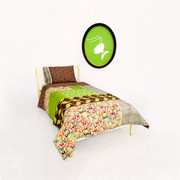 Aunt Bucky Peace Trees Twin Quilt and Pillowcase Set
