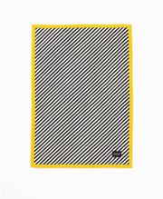 Ferm Living  Black Stripe Quilted Blanket - Yellow