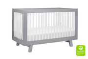 Babyletto Hudson 3-in-1 Convertible Crib in Grey with White