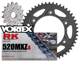 RK Vortex Blk MX Blk QA Chain and Sprocket Kit for HON 05-07 CR125