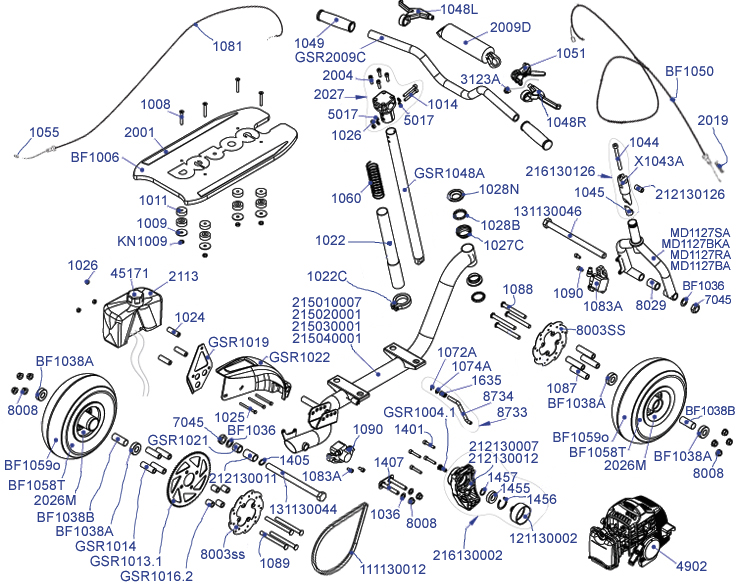 parts - gas scooter parts - gsr 46r