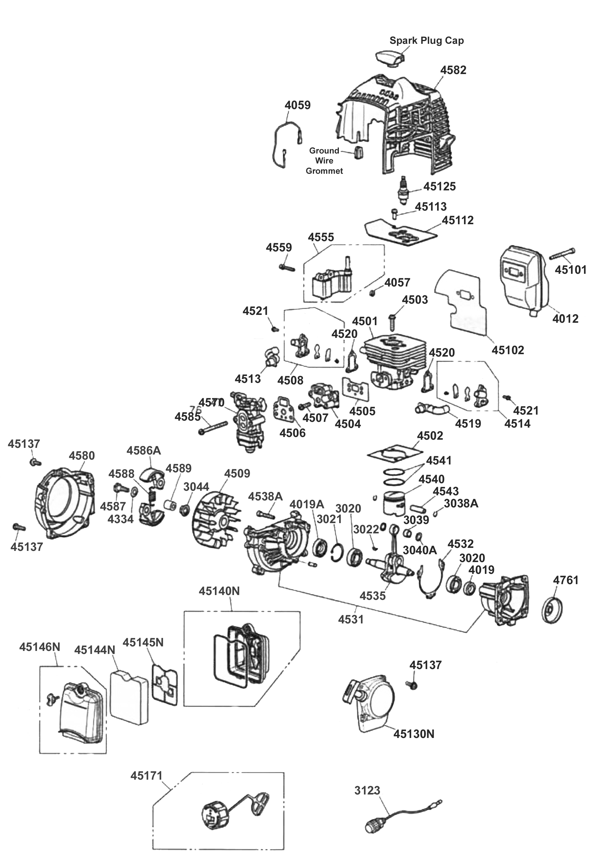 49cc 2 stroke scooter engine diagram