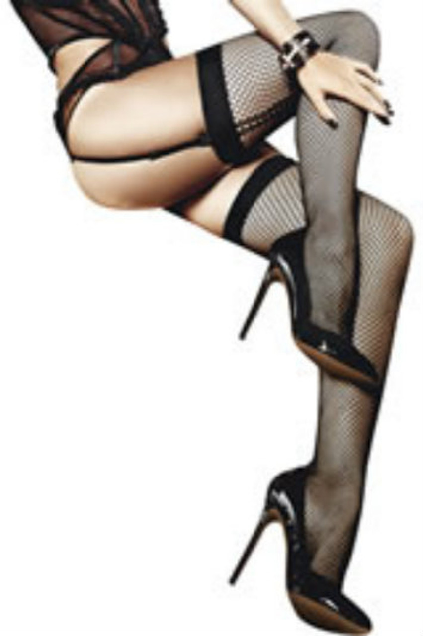 Thrilling stockings made of black net material. The lush close-meshed design gives the wearer and extraordinary look.   Its charming rear seams and wide, opaque cuffs make these stockings a sensual highlight.