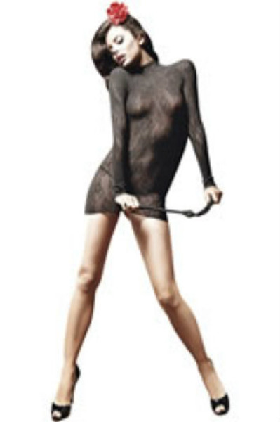 This skin-tight, black mini dress makes the charming contrast between its high-necked, long-sleeved style and promising transparent lace ornamentation a great pleasure.   Its short, thrilling form with stand-up collar and coquettish floral pattern let you confidently and beguilingly shine.