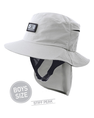 Boys Indo Stiff Peak Surf Hat -  Grey