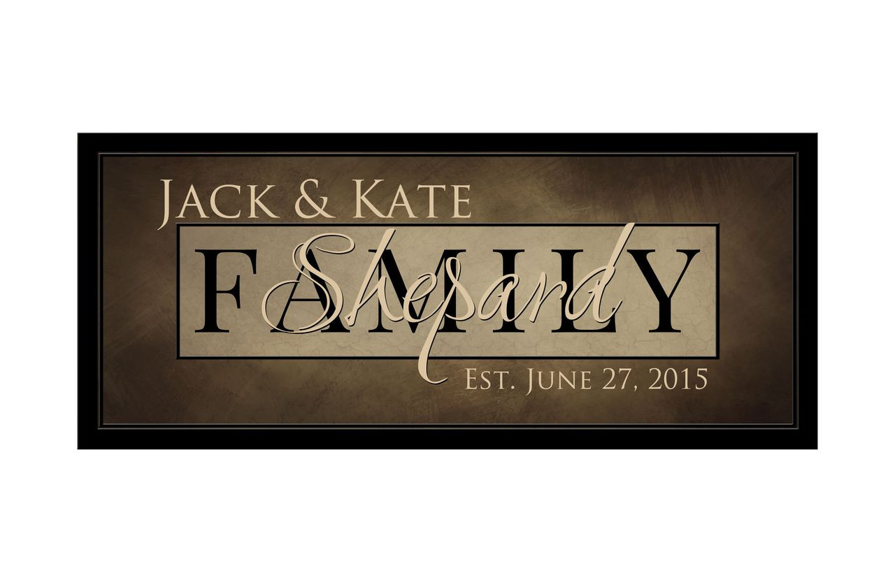 Personalized Family Name Sign With Framed Background
