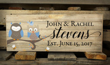 Personalized Family Name Pallet Box Sign With Owls In A Tree