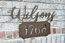 Personalized Metal Name Sign with Street Number