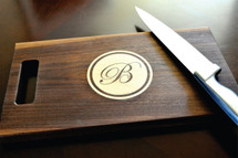 Personalized Cutting Board Single Letter Monogram Inlay