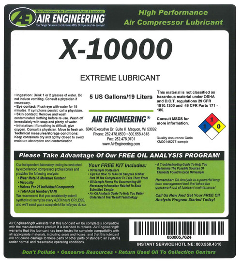 X-10000-330 - COMPRESSOR LUBRICANT,HIGH TEMP CONDITION