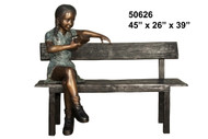 Young Girl Reading on a Bench - Winter Sale