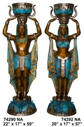 Egyptian Couple - Left and Right Pair - Special Patina, Style NA