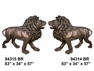 "Pair of 83"" Bronze Lions - Left and Right"