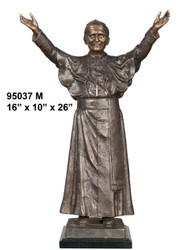 "26"" Bronze Statue of Pope John Paul 2nd - with Marble Base"