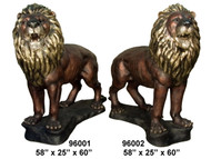 "Pair of Growling Lions - Left and Right - 60"" Design"