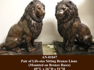 MGM Style Sitting Lions - Pair - Winter Sale