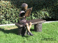 Girl Reading a Book on a Bench - Fall / Winter Clearance