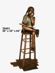 Girl Studying on a Stool - Winter Sale