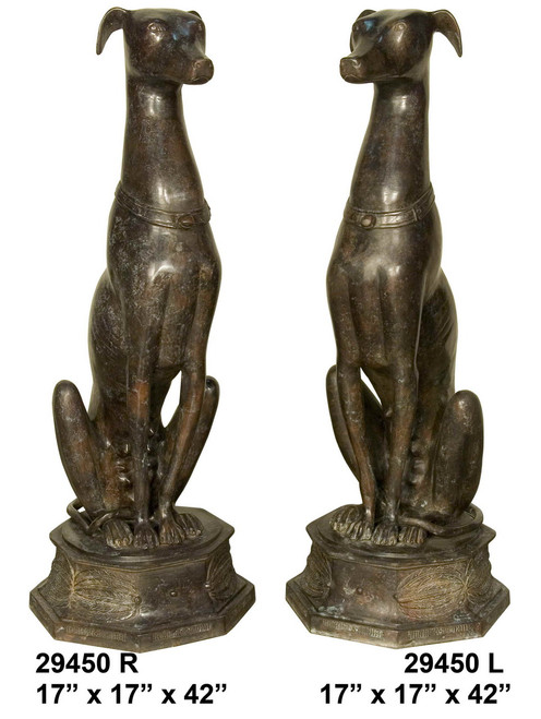 Greyhounds (Whippets) Sitting on Pedestals, Left & Right Pair