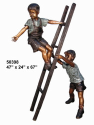 2 Boys Climbing a Ladder