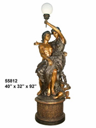 Man, Woman & Child Embracing on a Pedestal with a Lamp- Greco-Roman Design