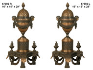 "Bronze Fireplace Andirons - 29"" Ornate Design"