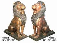 Sitting Lions - Left & Right Pair