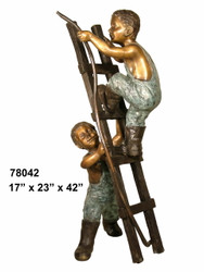 Two Boys on a Ladder with a Hose