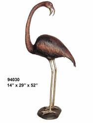 Flamingo Looking Back- Bronze Patina