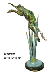 Leaping Frog with Marble Base - Special Patina, Style NA