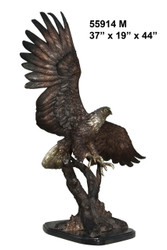 """Eagle with Wings Extended - 44"""" Design - with Marble Base"""