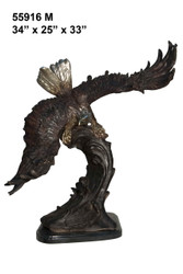 """Eagle with Wings Extended - 34"""" Design - with Marble Base"""