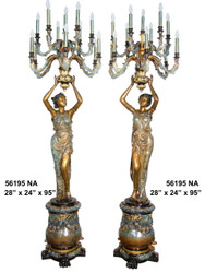 "95"" Maidens on Pedestals - Left & Right Pair - Ornate Torchieres - Special Patina, Style NA"