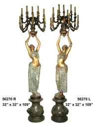 "109"" Maidens on Pedestals - Left & Right Pair - Ornate Torchieres"