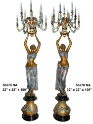 "109"" Maidens on Pedestals - Left & Right Pair - Ornate Torchieres - Special Patina, Style NA"
