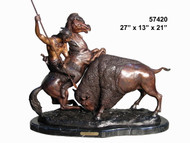 "Remington design, ""Indian & Buffalo"" - with Marble Base"