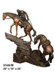 "Remington design, ""Mountain Trail"" - with Marble Base"