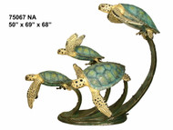 Four Swimming Sea Turtles - Special Patina, Style NA