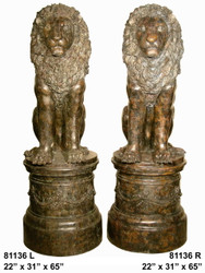 Lions in Sitting Position on Pedestals, Left & Right Pair - Winter Sale