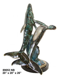 Pair of Swimming Whales - with Marble Base (not shown) - Special Patina, Style NB