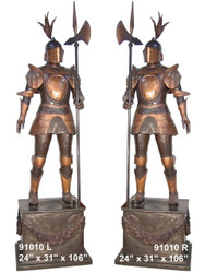 Medieval Knights on Pedestals - Left & Right Pair