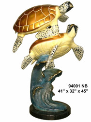 2 Sea Turtles Swimming - with Marble Base - Special Patina, Style NB