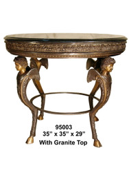 Oval Table with Granite Top - Ornate Design