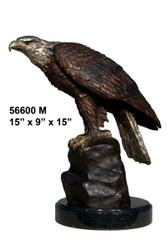 Eagle Perched on a Rock - with Marble Base
