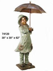 Girl Under an Umbrella - Spillover Fountain Design - Fall / Winter Clearance